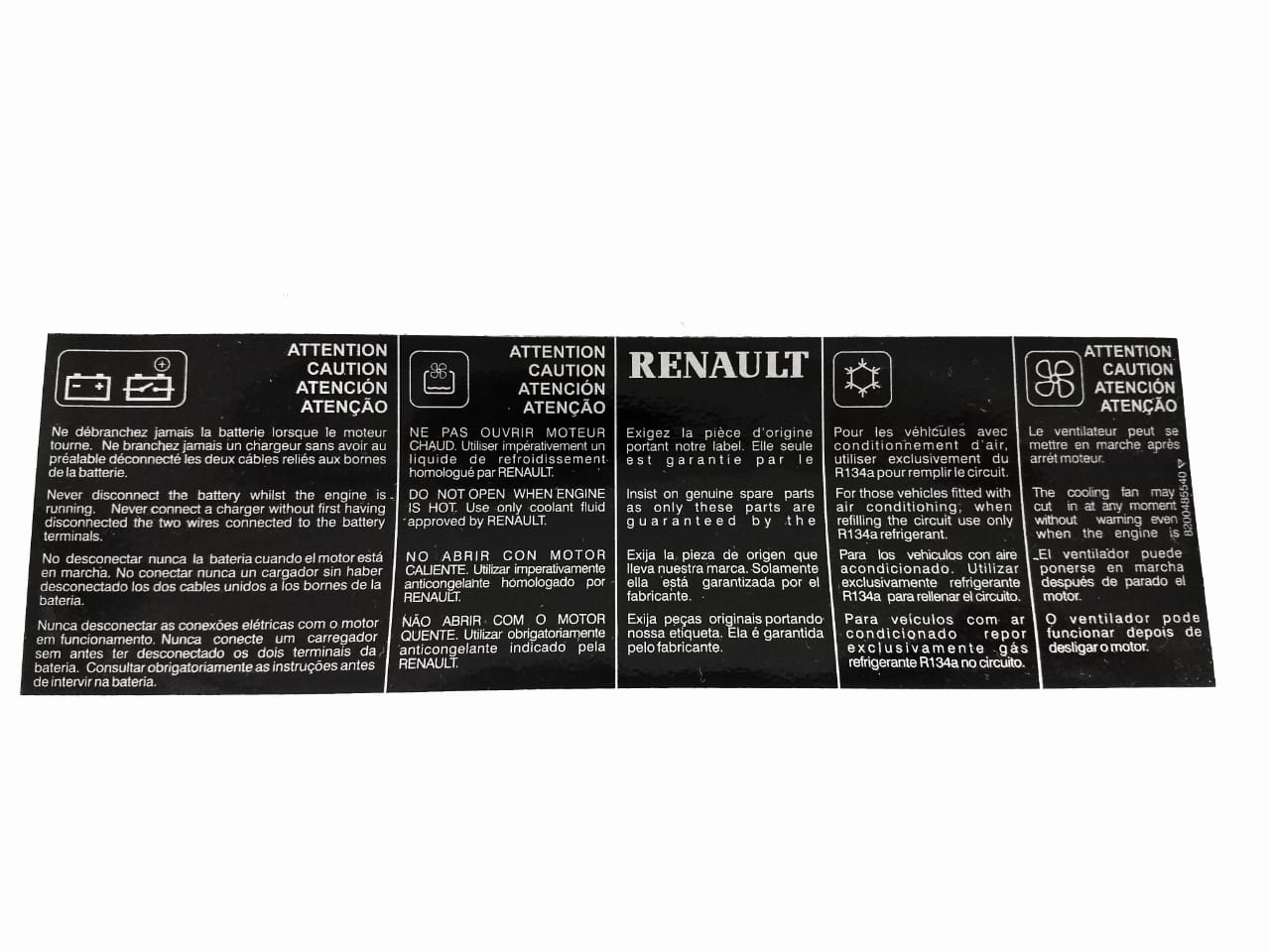 Etiqueta do painel frontal - Emblemas - PC - Renault Scen